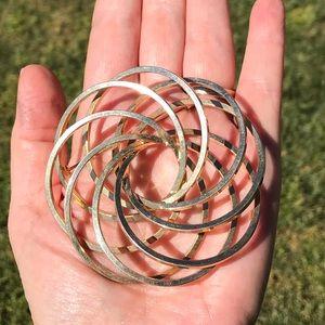 Vintage Gold Interlocking Large Circle Pin